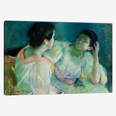 The Conversation, c.1860 Canvas Print #BMN6873} by Mary Stevenson Cassatt Canvas Artwork