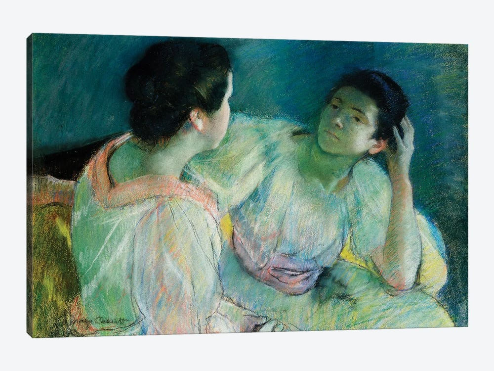 The Conversation, c.1860 by Mary Stevenson Cassatt 1-piece Canvas Wall Art