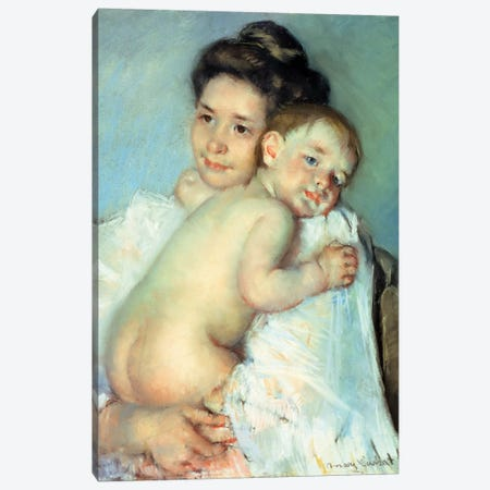 The Young Mother Canvas Print #BMN6879} by Mary Stevenson Cassatt Canvas Artwork