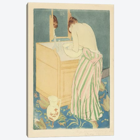 Woman Bathing, 1890-91 Canvas Print #BMN6882} by Mary Stevenson Cassatt Canvas Art Print