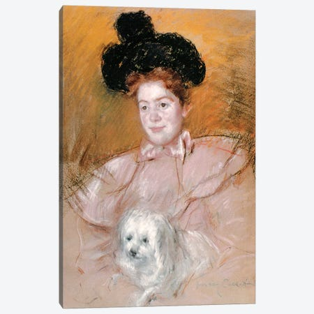 Woman Holding A Dog Canvas Print #BMN6883} by Mary Stevenson Cassatt Canvas Art Print