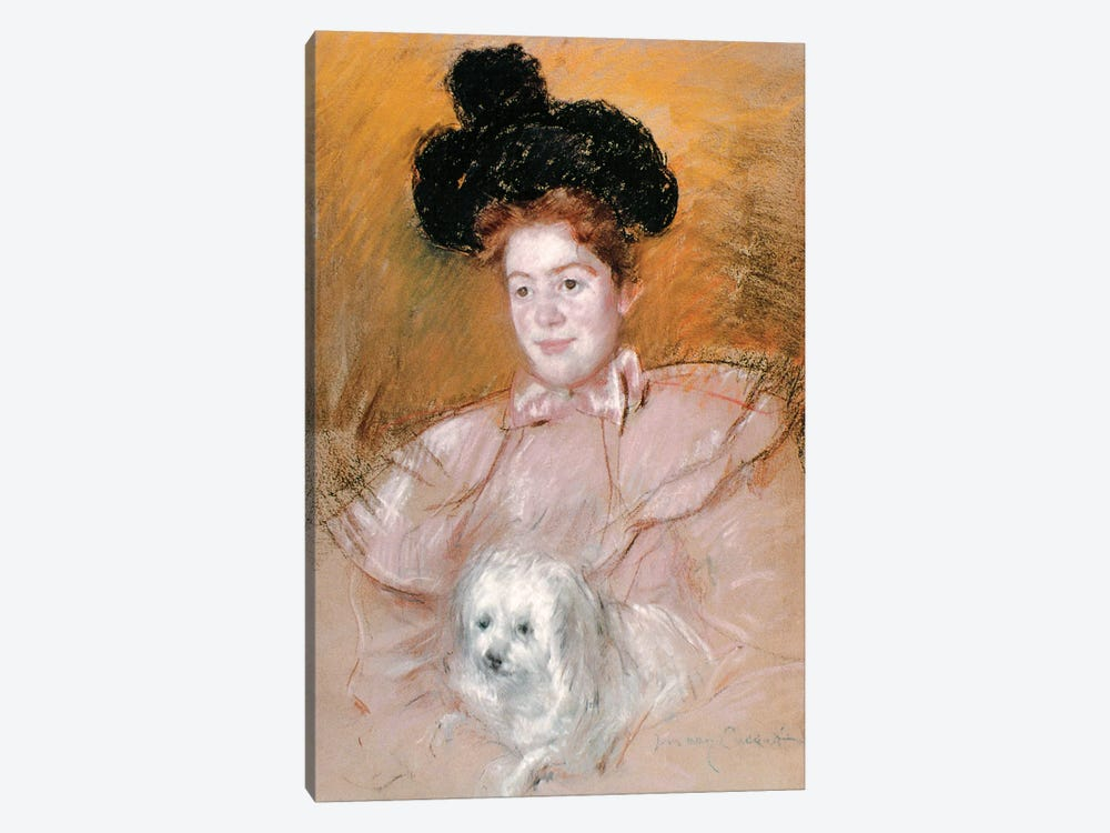Woman Holding A Dog 1-piece Canvas Print