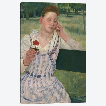 Woman With A Red Zinnia, 1891 Canvas Print #BMN6884} by Mary Stevenson Cassatt Canvas Artwork