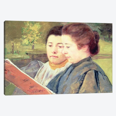 Women Reading Canvas Print #BMN6885} by Mary Stevenson Cassatt Canvas Wall Art