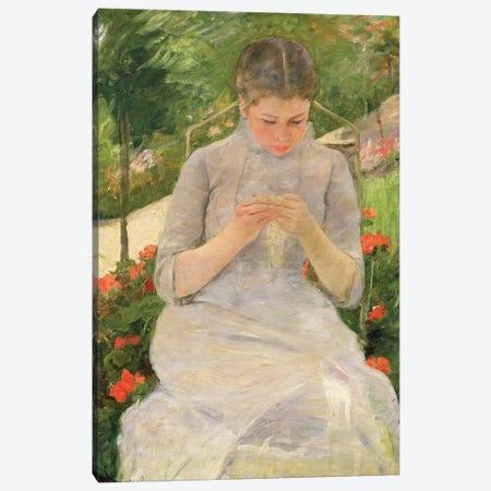 Young Woman Sewing In The Garden, c.1880-82 3-Piece Canvas #BMN6888} by Mary Stevenson Cassatt Canvas Art Print