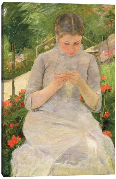 Young Woman Sewing In The Garden, c.1880-82 Canvas Art Print