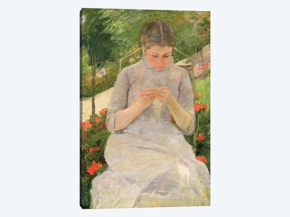 Young Woman Sewing In The Garden, c.1880-82 by Mary Stevenson Cassatt 1-piece Canvas Wall Art