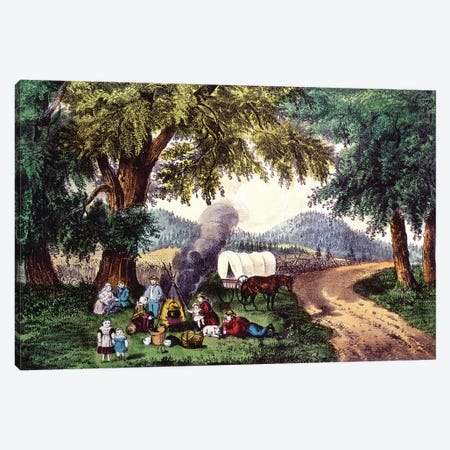 A Halt By The Wayside Canvas Print #BMN6889} by Currier & Ives Art Print