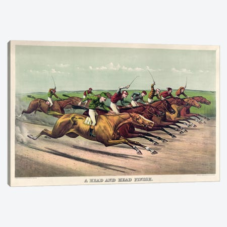 A Head And Head Finish, 1892 Canvas Print #BMN6890} by Currier & Ives Canvas Artwork