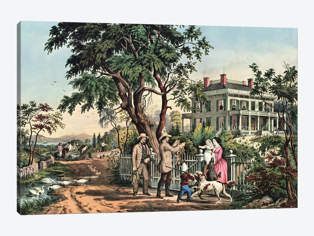 American Country Life - October Afternoon, 1855 by Currier & Ives 1-piece Canvas Artwork