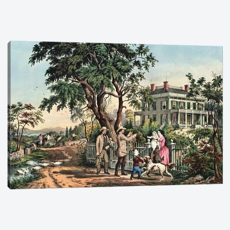 American Country Life - October Afternoon, 1855 Canvas Print #BMN6891} by Currier & Ives Canvas Wall Art