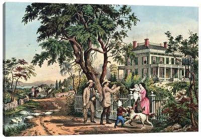 American Country Life - October Afternoon, 1855 Canvas Art Print
