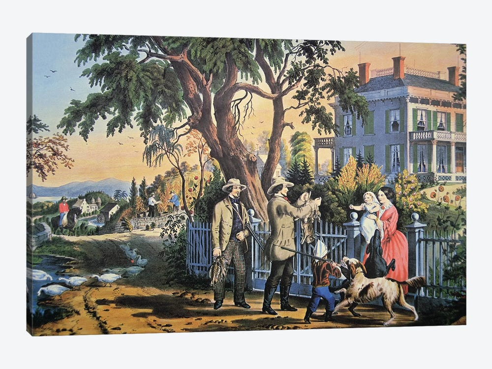 American Country Life: Bringing Home The Game, 1855 by Currier & Ives 1-piece Art Print