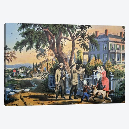 American Country Life: Bringing Home The Game, 1855 Canvas Print #BMN6892} by Currier & Ives Canvas Wall Art