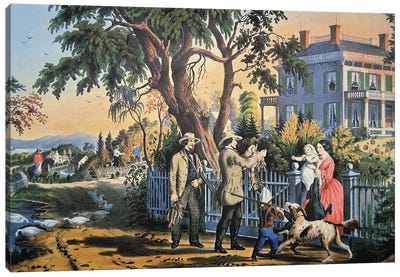 American Country Life: Bringing Home The Game, 1855 Canvas Art Print