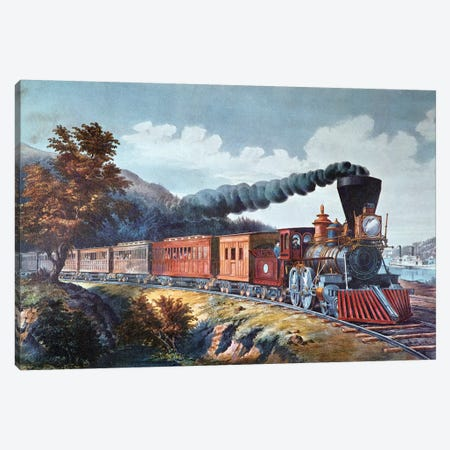 American Express Train, 1864 Canvas Print #BMN6893} by Currier & Ives Canvas Artwork