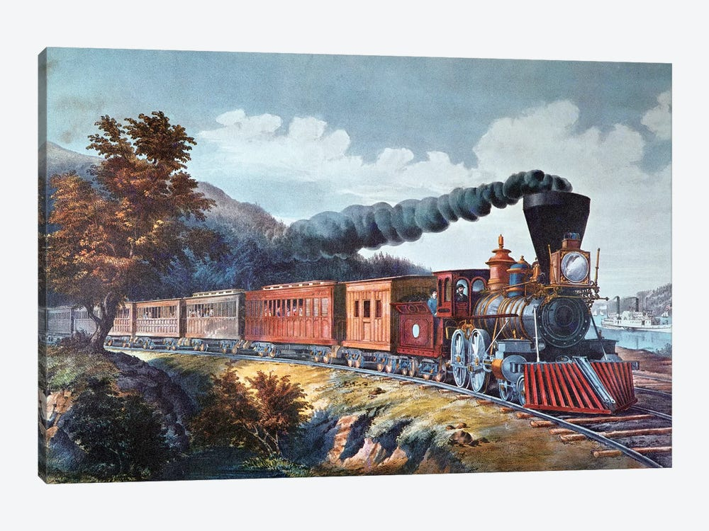 American Express Train, 1864 by Currier & Ives 1-piece Canvas Wall Art