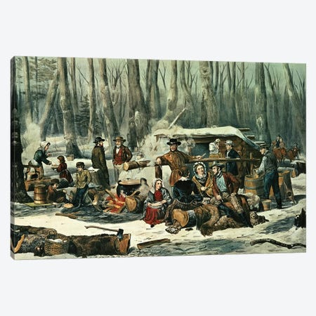American Forest Scene - Maple Sugaring, 1856 Canvas Print #BMN6894} by Currier & Ives Canvas Art Print