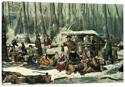 American Forest Scene - Maple Sugaring, 1856 Canvas Art Print