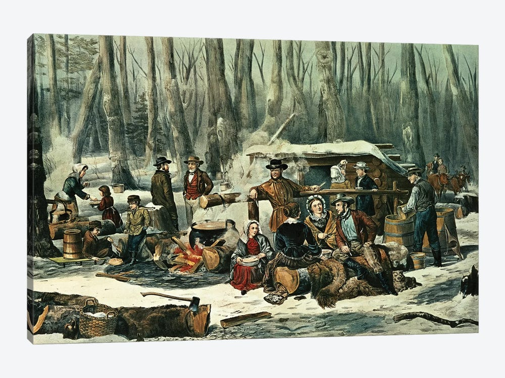 American Forest Scene - Maple Sugaring, 1856 by Currier & Ives 1-piece Canvas Art Print