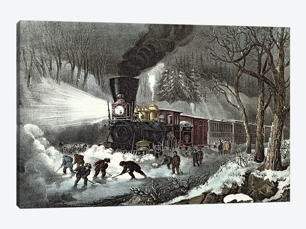 American Railroad Scene, 1871 by Currier & Ives 1-piece Canvas Wall Art
