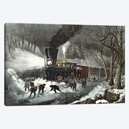 American Railroad Scene, 1871 3-Piece Canvas #BMN6895} by Currier & Ives Canvas Art Print