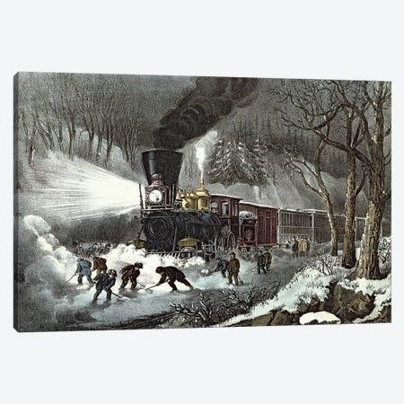 American Railroad Scene, 1871 Canvas Print #BMN6895} by Currier & Ives Canvas Art Print