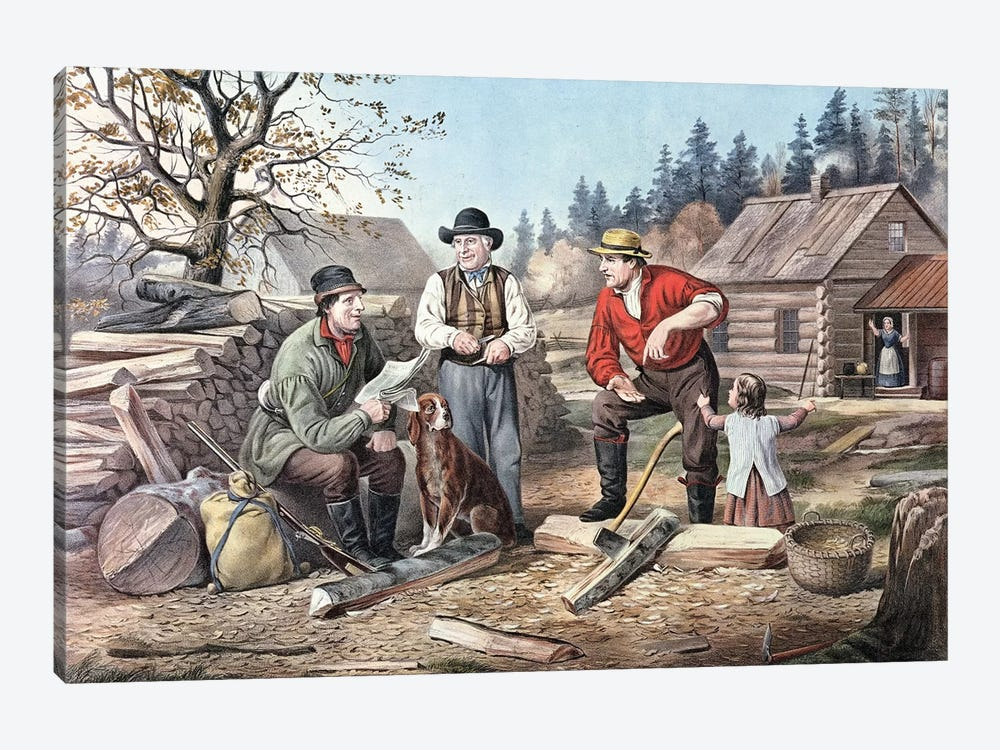 Arguing The Point - The Latest News, 1855 by Currier & Ives 1-piece Canvas Print