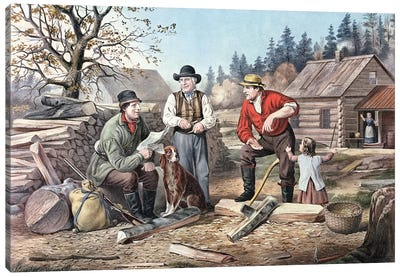 Arguing The Point - The Latest News, 1855 Canvas Art Print