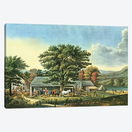 Autumn In New England - Cider Making, 1866 Canvas Print #BMN6898} by Currier & Ives Canvas Art