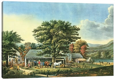 Autumn In New England - Cider Making, 1866 Canvas Art Print