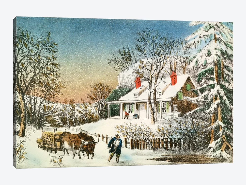 Bringing Home The Logs, Winter Landscape, 19th Century by Currier & Ives 1-piece Canvas Wall Art