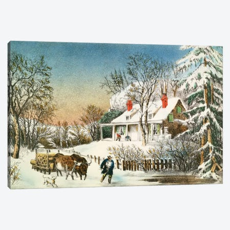 Bringing Home The Logs, Winter Landscape, 19th Century Canvas Print #BMN6901} by Currier & Ives Canvas Artwork