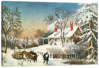 Bringing Home The Logs, Winter Landscape, 19th Century Canvas Art Print