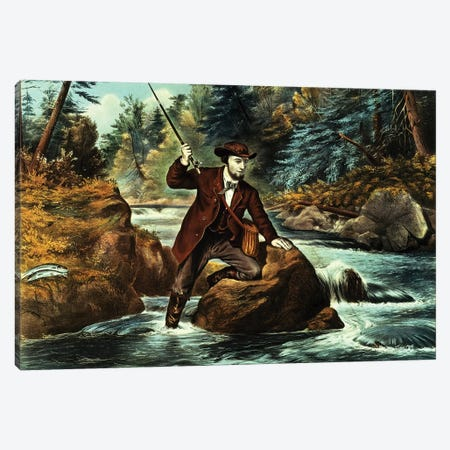 Brook Trout Fishing - An Anxious Moment, 1862 Canvas Print #BMN6902} by Currier & Ives Canvas Wall Art