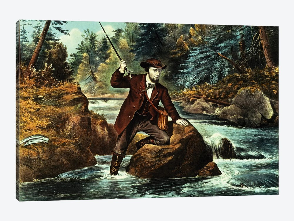 Brook Trout Fishing - An Anxious Moment, 1862 by Currier & Ives 1-piece Canvas Art Print