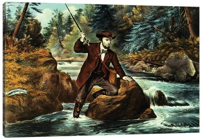 Brook Trout Fishing - An Anxious Moment, 1862 Canvas Art Print