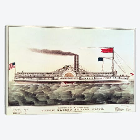 Buffalo & Chicago Steam Packet, Empire State Canvas Print #BMN6903} by Currier & Ives Canvas Art