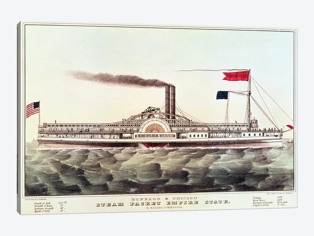 Buffalo & Chicago Steam Packet, Empire State by Currier & Ives 1-piece Canvas Artwork