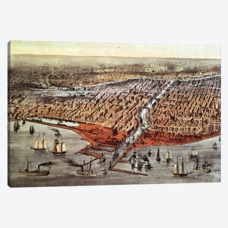 Chicago As It Was, c.1880 Canvas Print #BMN6904} by Currier & Ives Art Print