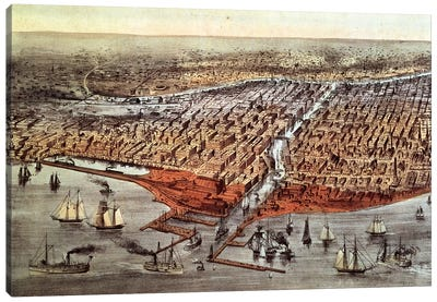 Chicago As It Was, c.1880 Canvas Art Print