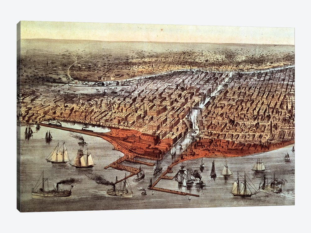 Chicago As It Was, c.1880 by Currier & Ives 1-piece Canvas Print