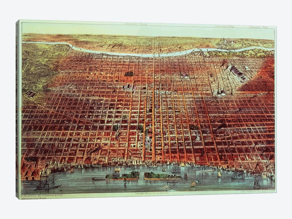 General View Of Philadelphia, 1875 by Currier & Ives 1-piece Canvas Wall Art