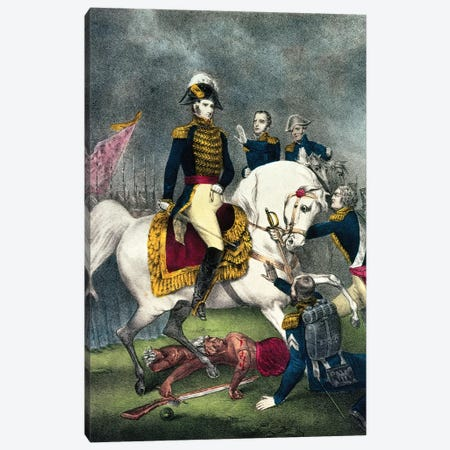 General William H. Harrison At The Battle Of Tippecanoe, 1840 Canvas Print #BMN6908} by Currier & Ives Canvas Art