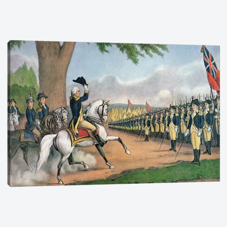 George Washington Taking Command Of The American Army At Cambridge, Massachusetts, 3rd July, 1775 Canvas Print #BMN6909} by Currier & Ives Canvas Art
