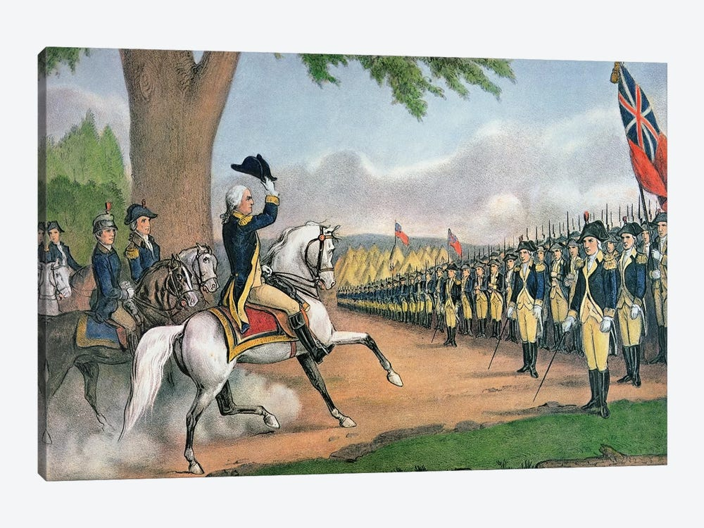George Washington Taking Command Of The American Army At Cambridge, Massachusetts, 3rd July, 1775 by Currier & Ives 1-piece Canvas Artwork