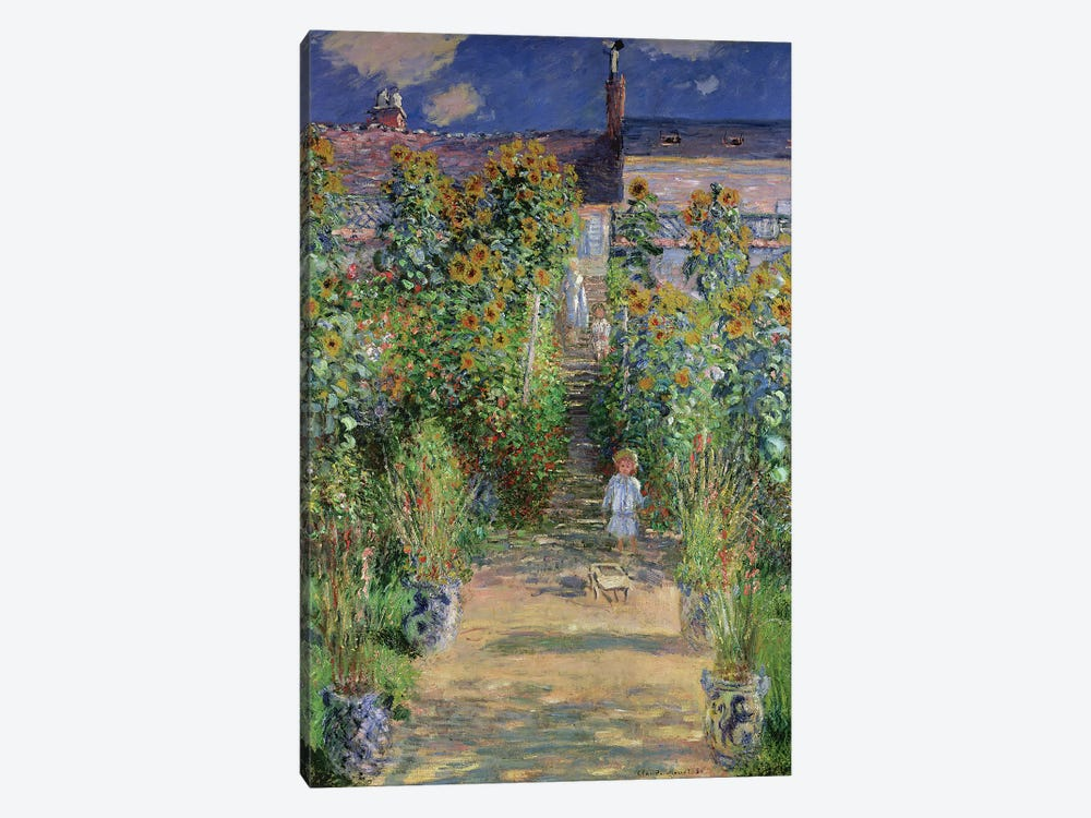 The Artist's Garden at Vetheuil, 1880  by Claude Monet 1-piece Canvas Artwork