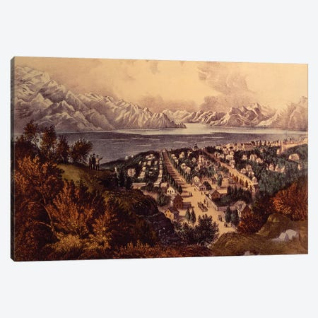 Great Salt Lake, Utah Canvas Print #BMN6910} by Currier & Ives Canvas Print