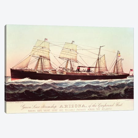 Guion Line Steamship Arizona, Of The Greyhound Fleet, Making Safe, Short And Reliable Passages Across The Atlantic Canvas Print #BMN6911} by Currier & Ives Canvas Print