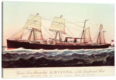 Guion Line Steamship Arizona, Of The Greyhound Fleet, Making Safe, Short And Reliable Passages Across The Atlantic Canvas Art Print
